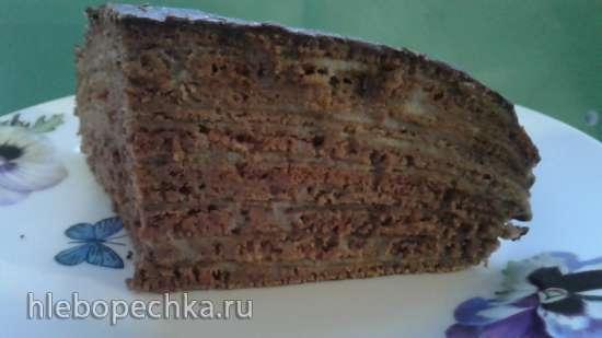 """Блинный шоколадный торт """"Негритенок"""" (на сковороде)"""