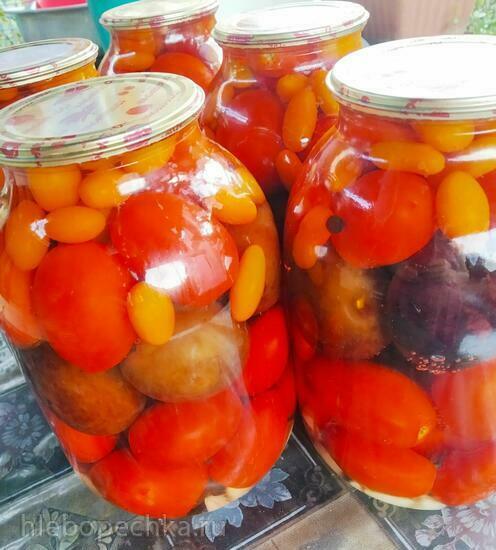 Маринованные помидоры со сливами на зиму