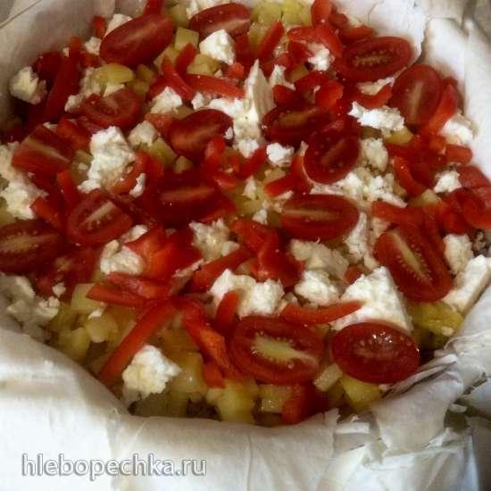 Греческий пирог с фаршем и картофелем