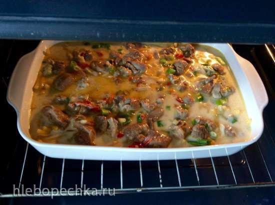 Макароны с мясом в сырной заливке в духовке