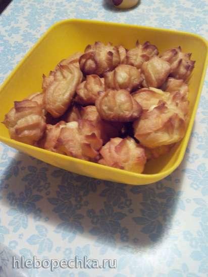 Пирожные заварные с творожным кремом