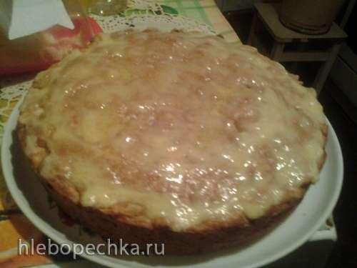 Пирог с яблоками, корицей и изюмом на растительном масле