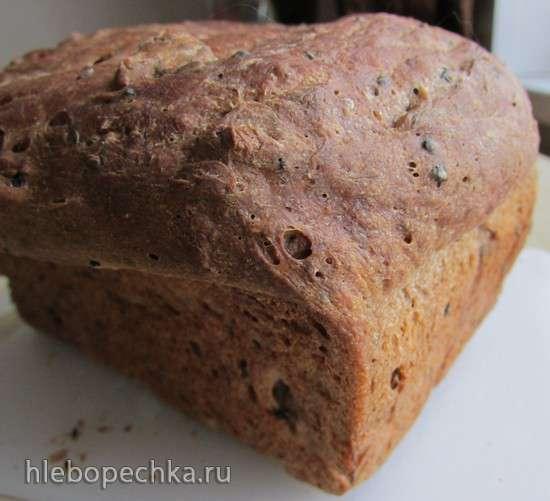 Хлеб пшенично-гречневый с маком, семенами льна, грецкими орехами
