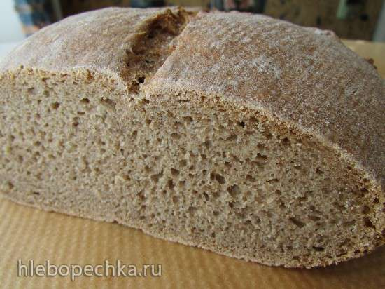 Темный ржано-пшеничный хлеб на биге (духовка)