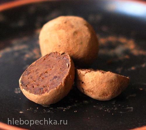 Конфеты из фасоли с черносливом и шоколадом