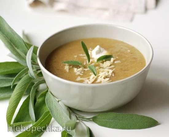 Суп из печеных баклажанов с шалфеем