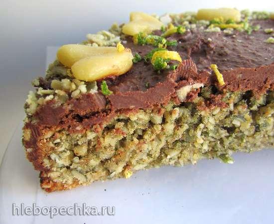 Зеленый пирог из тыквенных семечек