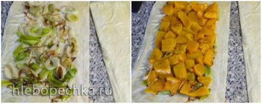 Штрудель с тыквой, луком-пореем и козьим сыром (Leek, pumpkin & goat's cheese strudel)