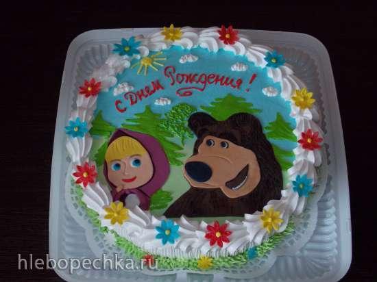 рецепт торта украшенного мастикой маша и медведь