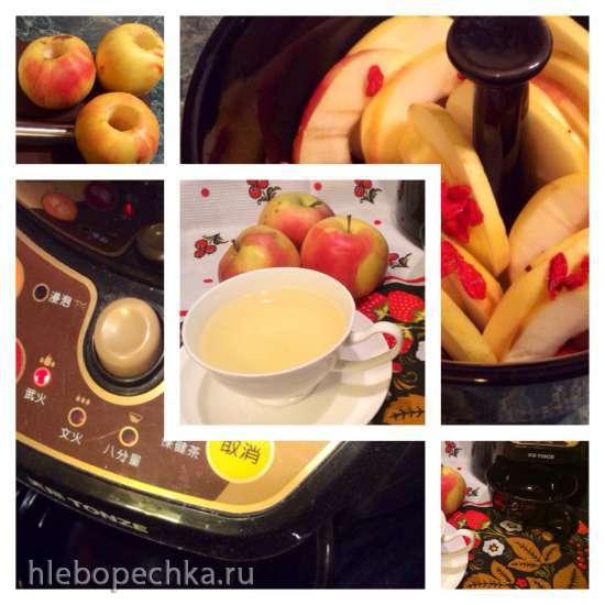 Яблочный напиток с ягодами годжи (прибор для заваривания трав Tonze BJH-810B)