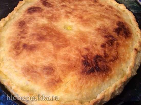 Пирог с мангольдом, брынзой и перепелиными яйцами (пиццепечь Принцесс)
