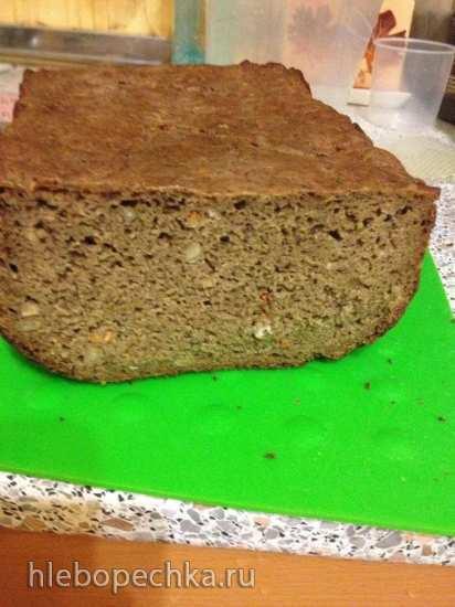 Хлеб 100% ржаной цельнозерновой с семечками на закваске в духовке