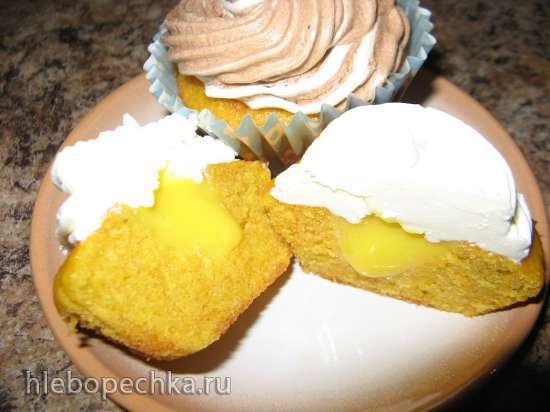Морковные капкейки с лимонным курдом и двумя видами крема