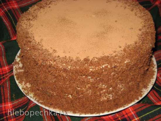 Торт шоколадно-кунжутный с халвовым кремом