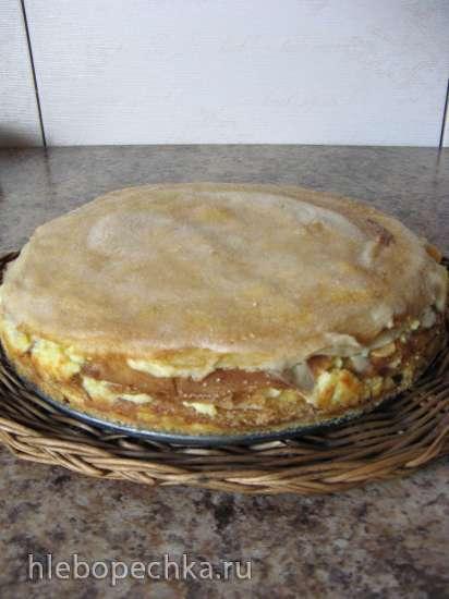Блинный пирог на твороге любой жирности