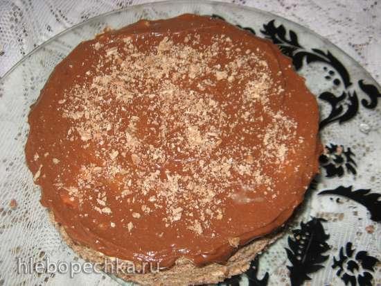 Торт шоколадный песочный с творожным кремом