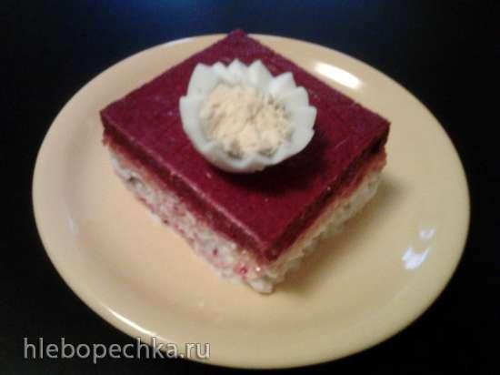 """Торт праздничный """"Селедка в шубке""""."""