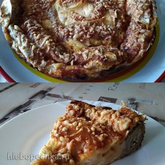 Ленивый пирог Лаваш & мясо & сыр