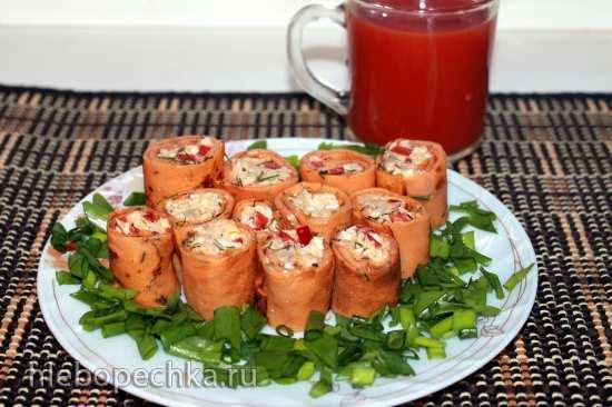 Закусочные томатные блинчики Пенёчки