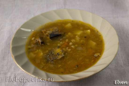 Суп перловый с сайрой