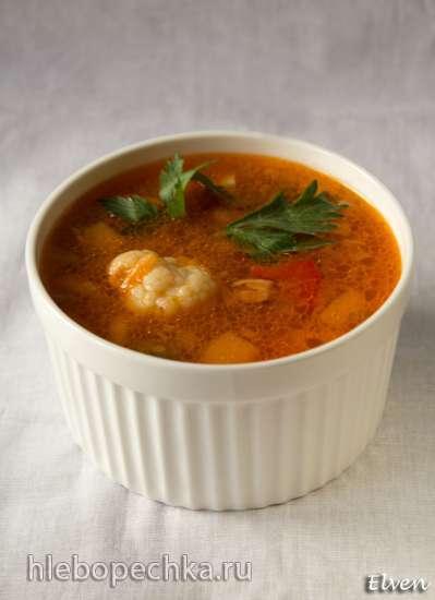 Суп с зеленой чечевицей и цветной капустой