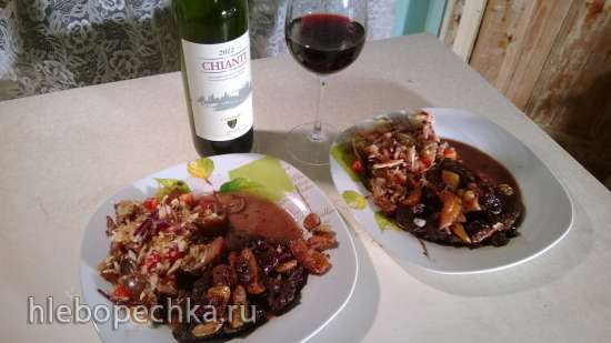 Мясо в винном соусе с виноградом (Filetto all'uva)
