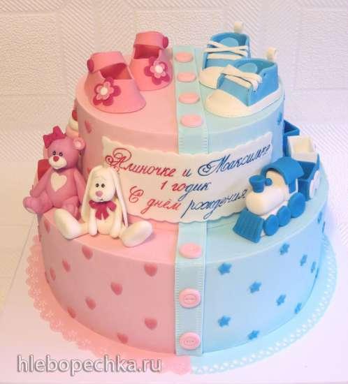 торт из мастики для двойняшек рецепт фото