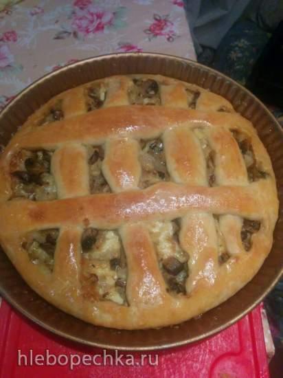 Пирог творожный с грибами