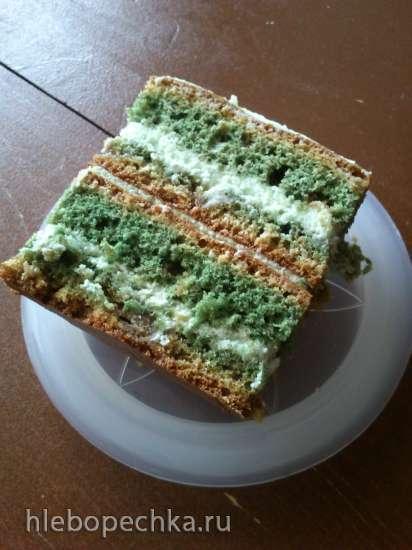 Торт Зеленый с халвой