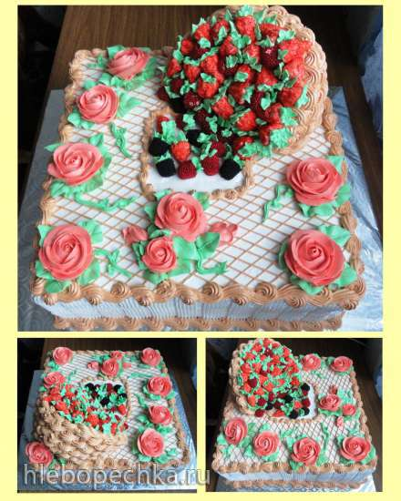 Торт Опрокинутая корзина (мастер-класс)