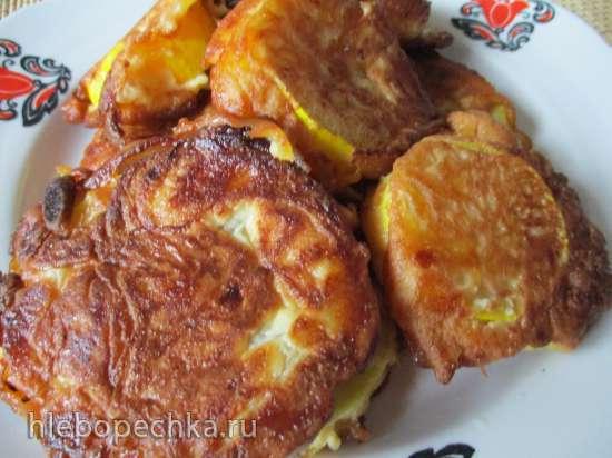 Помидоры и кабачки в сырном кляре