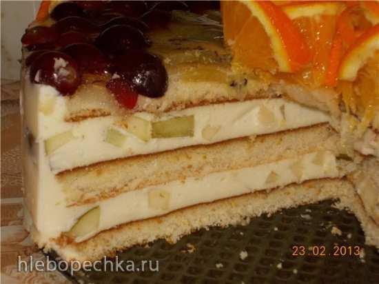 Торт суфле с творогом и фруктами