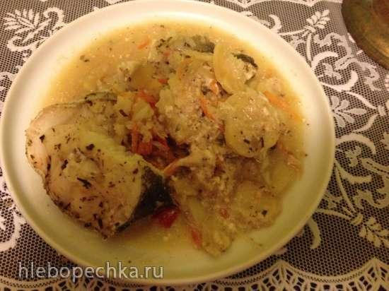 Рыба, томленая с овощами и рисом в мультиварке-скороварке Steba DD1