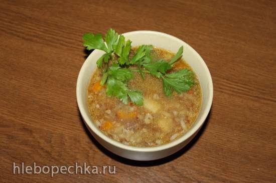 Суп гречневый Быстрый на тушеной говядине в коптильне Brand 6060