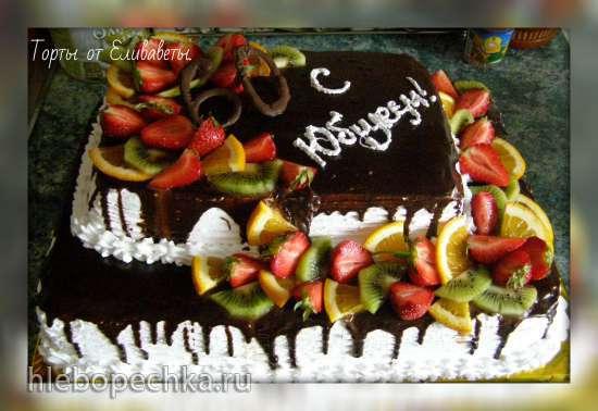 Оформление тортов квадратной формы фруктами фото