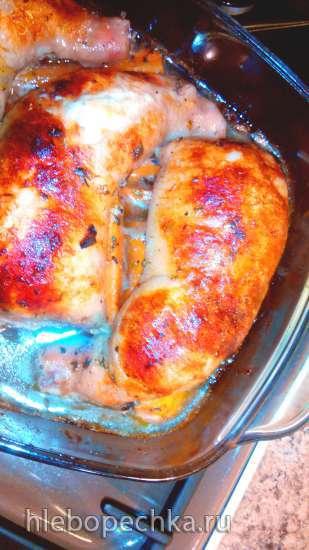 Окорочка куриные, фаршированные сыром и сердечками