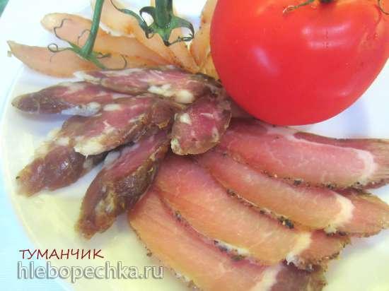 Вяленые мясо и колбаса без черевы и нитритной соли в электросушилке