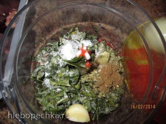 Печень, тушеная в соусе из маринованных томатов с травами и овощами (мультиварка Oursson MP5005)