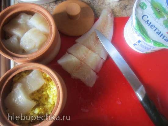Рыба с рисом в горшочке
