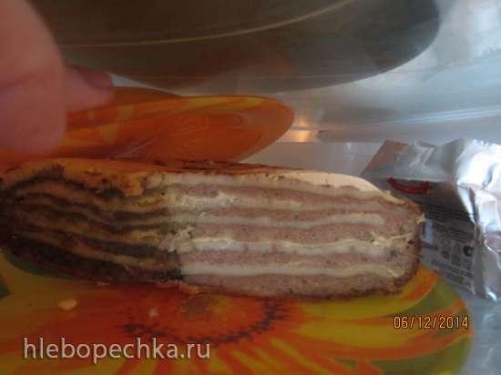 Печеночный торт с блинами в мультиварке Brand 37501