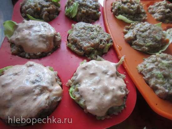 Ленивые голубцы с грибами в формочках для маффинов/кексов