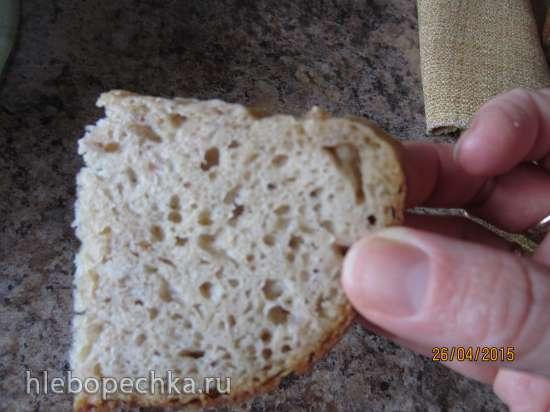 Пшеничный хлеб с полбяной мукой на ржаной закваске с кашей из пшеничной крупы (духовка)
