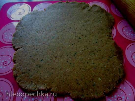 Печенье миндально-рыбное с крабовым кремом