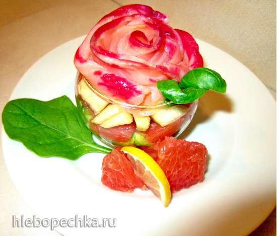 Закуска из семги и грейпфрута с овощами «Свежая роза»