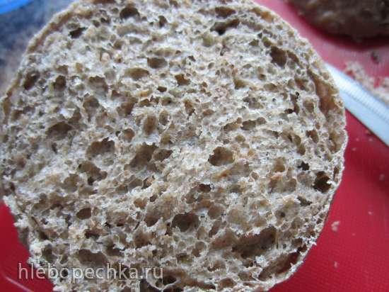 Окрошка в хлебных булках с заправкой из горчицы (на квасе или йогурте)