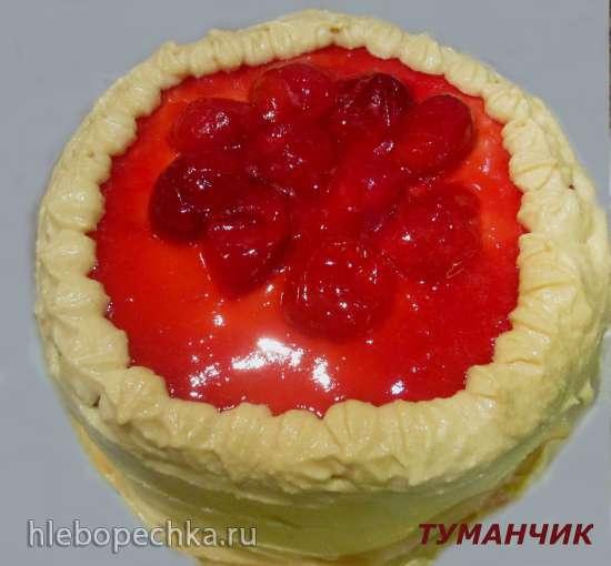 Торт-сюрприз бисквитный со сливовым конфитюром и кремом из манки