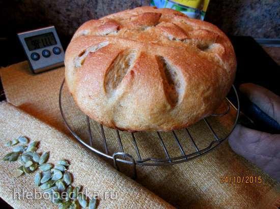 Хлеб из трех видов муки с цикорием на смешанной опаре со старым тестом (духовка)