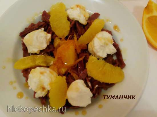 Шоколадная лапша с кремом из рикотты, апельсиновым  сиропом и ноткой розмарина