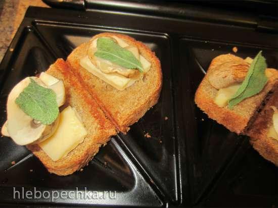 Бутерброды с шампиньонами, сыром и шалфеем в чесночной заливке (сэндвичница или контактный гриль)