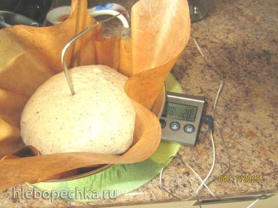 Хлеб из трех видов муки на отваре расторопши с капустным рассолом на смешанной опаре со старым тестом (духовка)